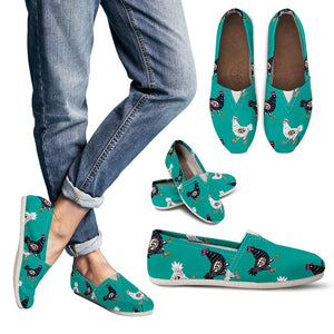 Green Cute Chicken Women's Casual Shoes