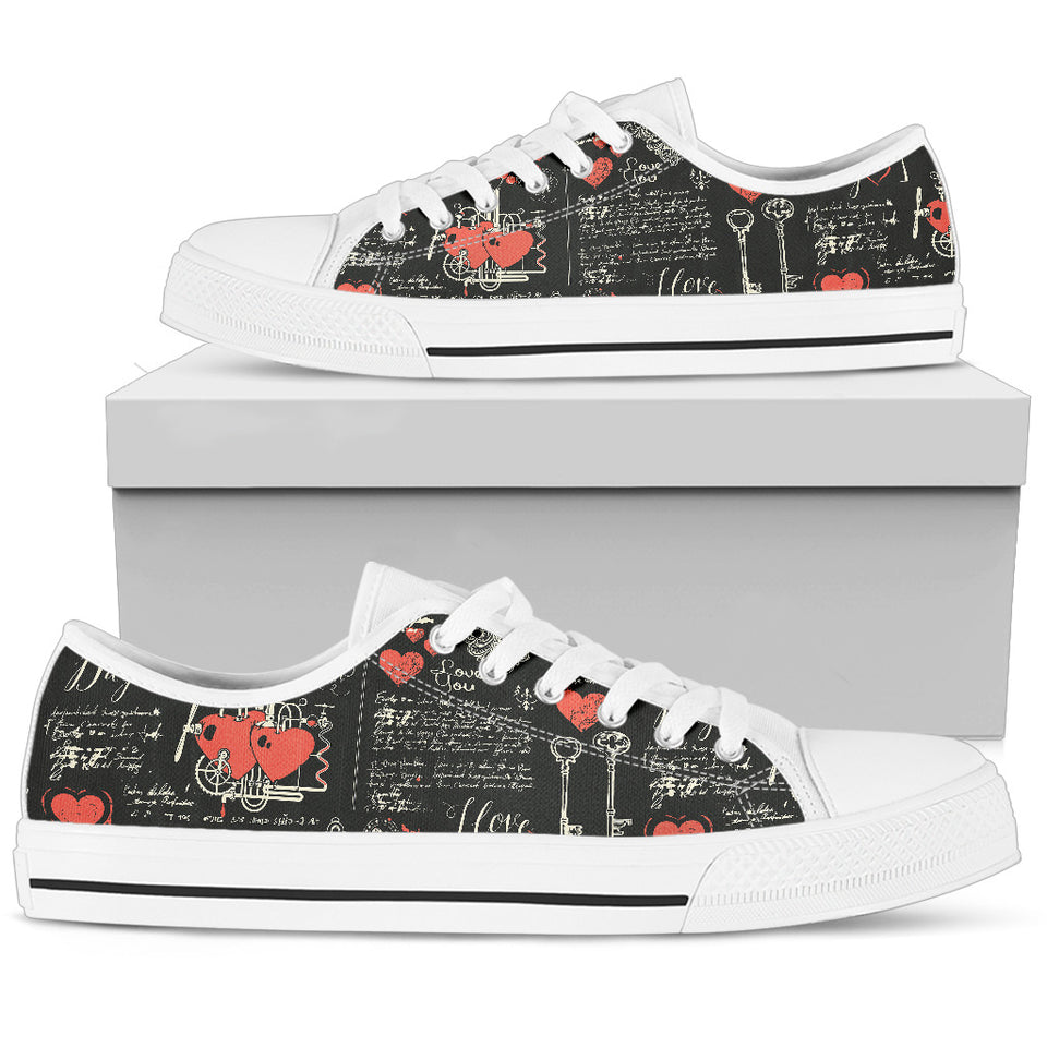 Black Valentine's Day Low Top Shoes Set A