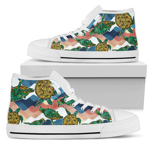 Turtle Pattern High Top Shoes