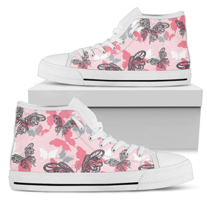 Pink Butterfly High Top Shoes