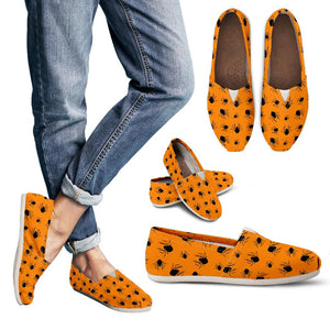 Orange Halloween Spiders Women's Casual Shoes