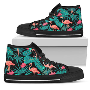 Tropical Leaves Flamingos High Top Shoes