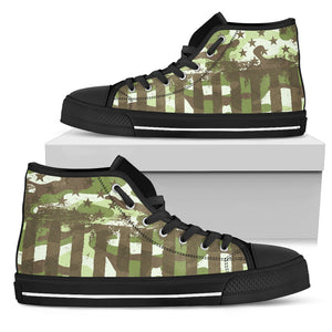 American Patriot Camouflage Green Camo High Top Shoes