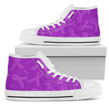 Purple Ribbon Awareness Cancer High Top Shoes