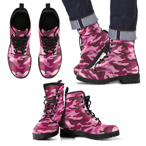 Pink Camouflage Camo Urban Leather Boots