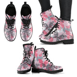 Pink Butterfly Leather Boots
