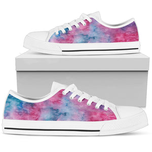 Pink Watercolor Womens Low Top Shoes (White)
