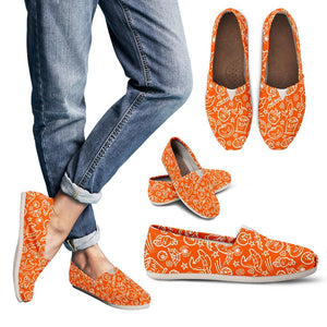 Orange Halloween Pumpkins Women's Casual Shoes