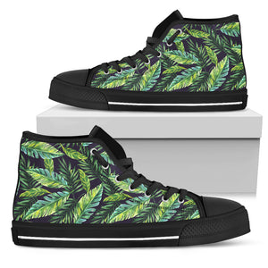 Tropical Palm Trees Leaves High Top Shoes