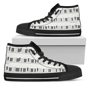 Piano Keyboard White High Top Shoes