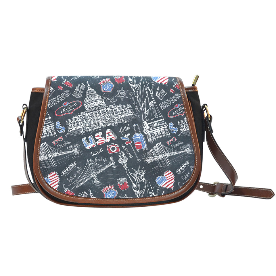 American Lover Canvas Leather Saddle Bag