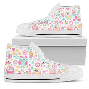 Owls And Flowers High Top Shoes
