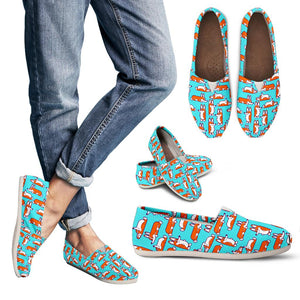 Green Cute Corgi Pattern Women's Casual Shoes