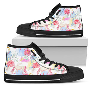 Watercolor Pink Peony High Top Shoes