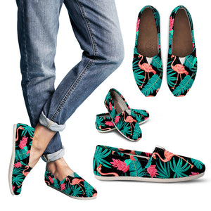 Tropical Leaves Flamingos Women's Casual Shoes