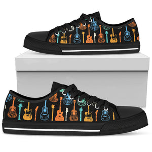 Guitar Lover Black Low Top Shoes
