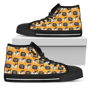 Papillon Dog Yellow High Top Shoes