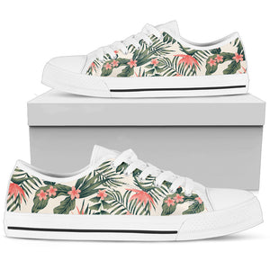 Tropical Palm Trees Flowers Low Top Shoes