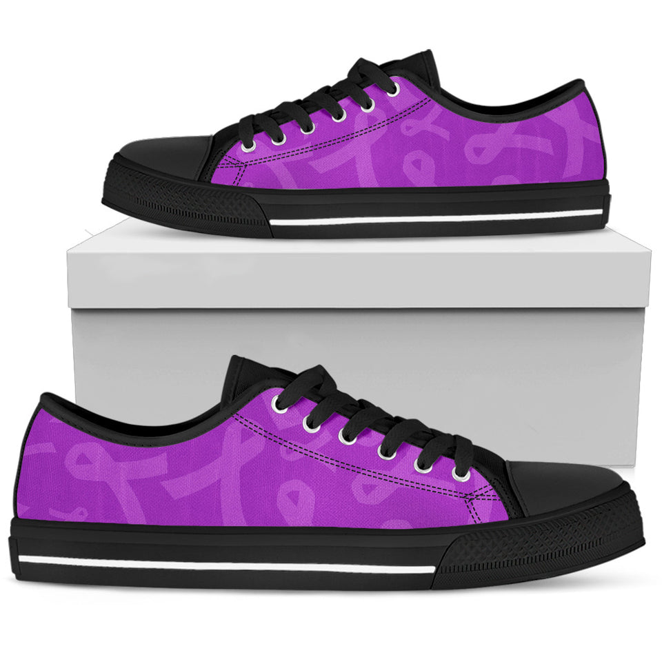 Purple Ribbon Awareness Cancer Low Top Shoes