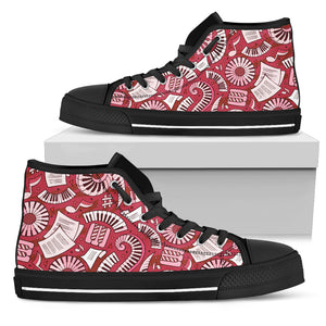 Red Funny Music Piano High Top Shoes