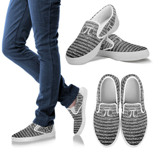 Math Pi Gray Slip Ons
