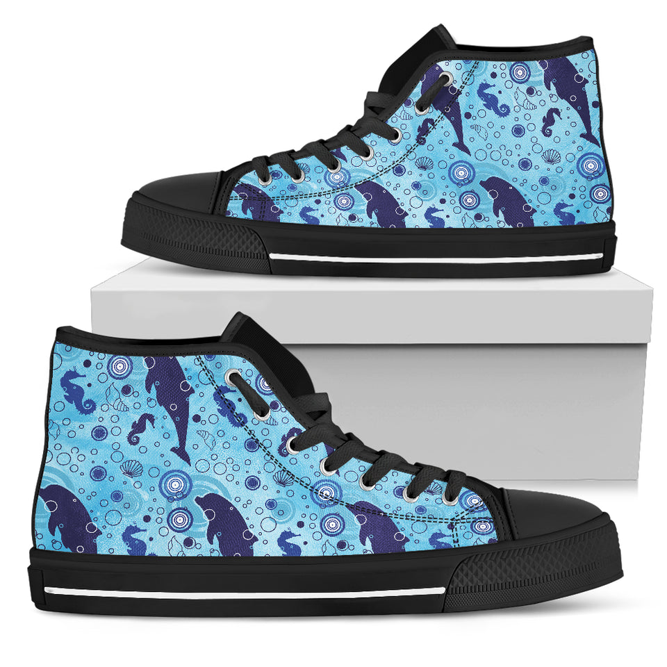Dolphins Ocean Blue Sea High Top Shoes