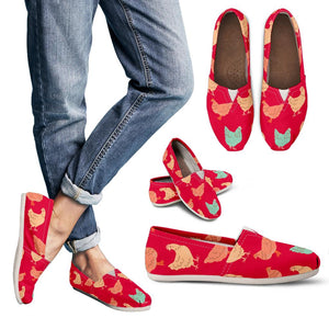 Red Vintage Chicken Women's Casual Shoes
