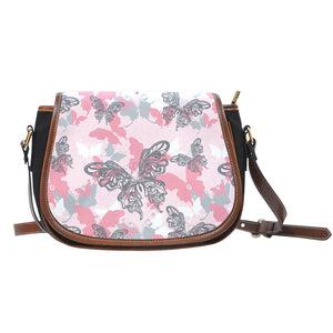 Pink Butterfly Canvas/Leather Saddle Bag