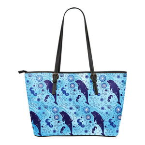 Dolphins Ocean Blue Sea Small Leather Tote
