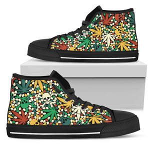 Skull Weed Colorful High Top Shoes