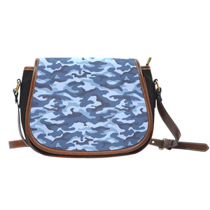 Camouflage Blue Camo Urban Canvas Leather Saddle Bag