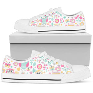 Owls And Flowers Low Top Shoes