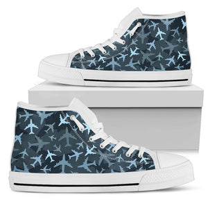 Airplanes Dark Blue Camouflage High Top Shoes