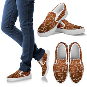 Math Brown Slip Ons