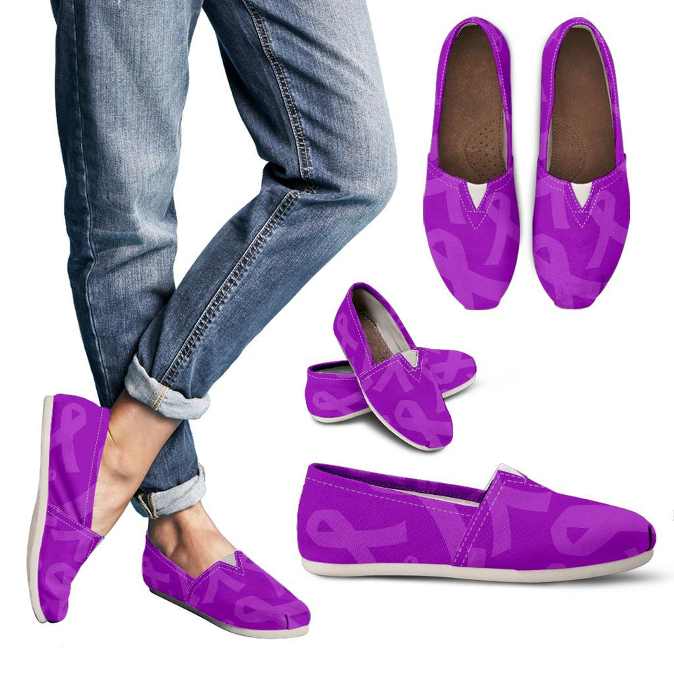 Purple Ribbon Awareness Cancer Women's Casual Shoes