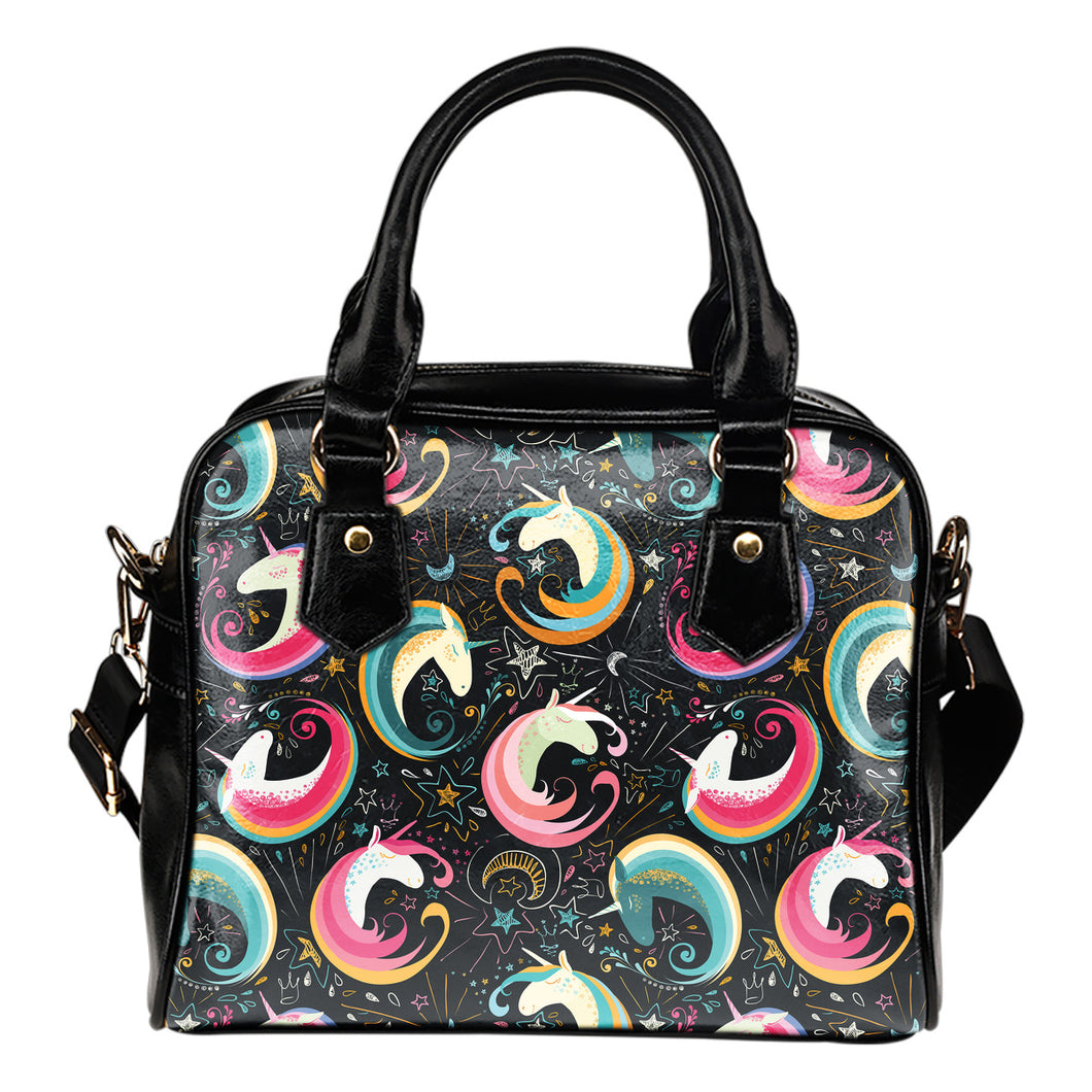 Rainbow Moon Magic Unicorns Shoulder Handbag