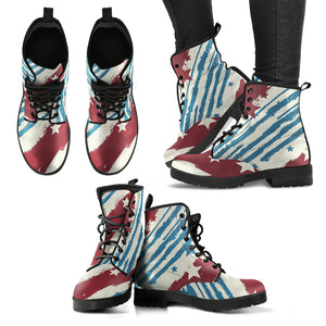 American Flag Stars Stripes Leather Boots