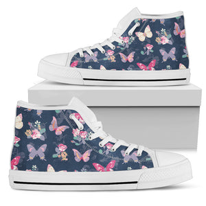 Rose Butterfly Navy High Top Shoes