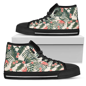 Tropical Palm Trees Flowers High Top Shoes