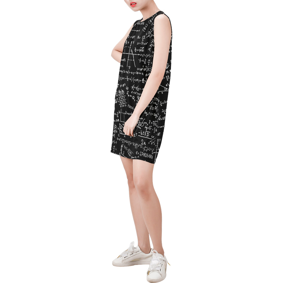 Mathematics Black Sleeveless Round Neck Shift Dress