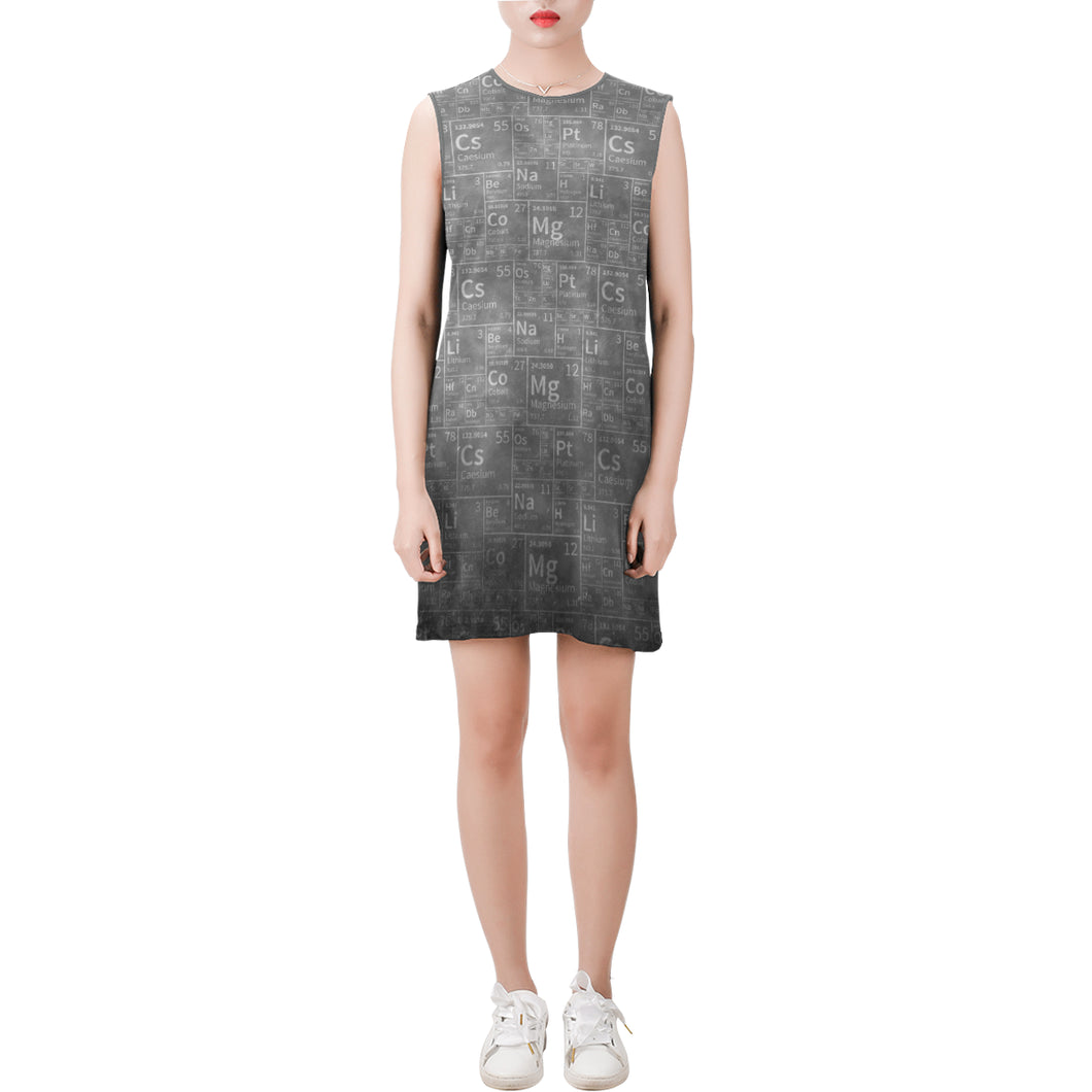 Periodic Grey Sleeveless Round Neck Shift Dress