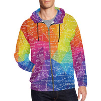 Math Colorful All Over Print Full Zip Hoodie