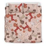 Brown Cute Poodles Bedding Set