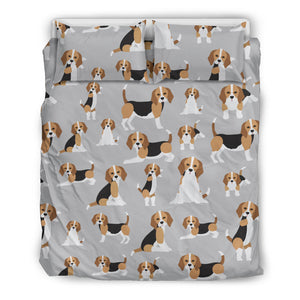 Cute Beagles On Gray Bedding Set