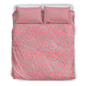 Chaotic Pink Green Zig Zag Bedding Set