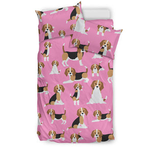 Cute Beagles On Pink Bedding Set