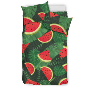 Watermelon Tropical Leaves Bedding Set