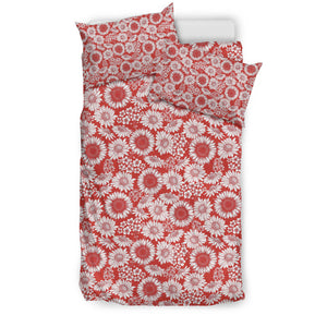 Floral Sunflowers Daisy Red Bedding Set