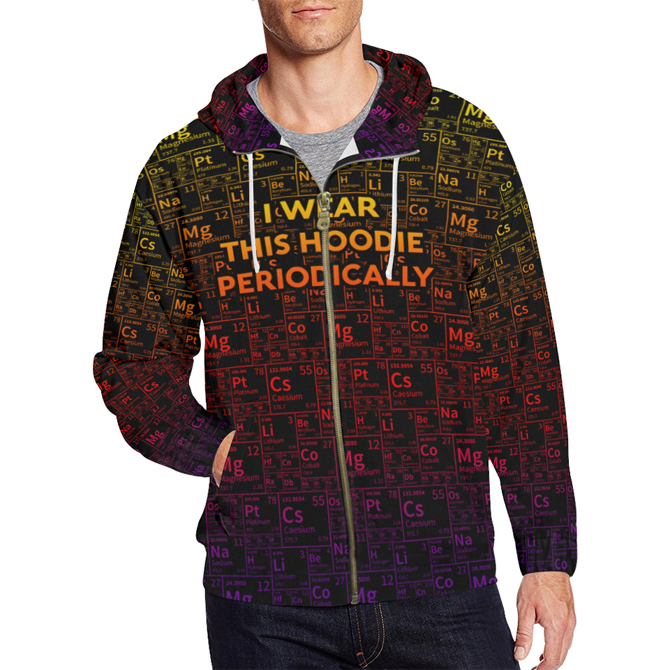 Periodic Color All Over Print Full Zip Hoodie