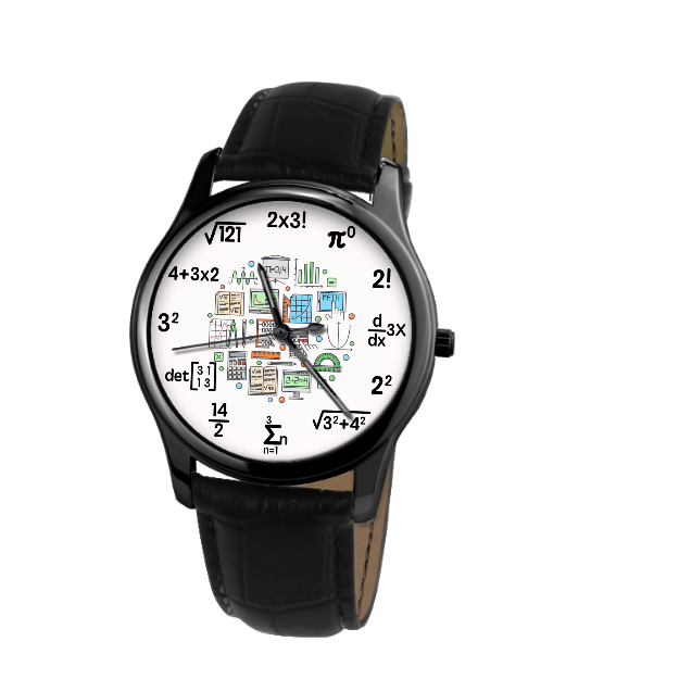 Mathematics 30 Meters Waterproof Quartz Leisure Watch With Black Genuine Leather